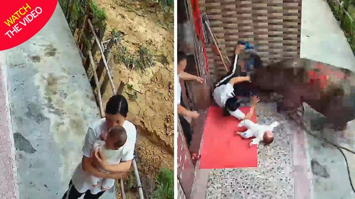 لحظه وحشتناک حمله گاو به زن خانه دار!