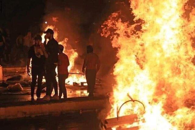 معترضان سازمان بدر و منزل یک حزب الصادقون را به آتش کشیدند، جهت نجف بسته شد